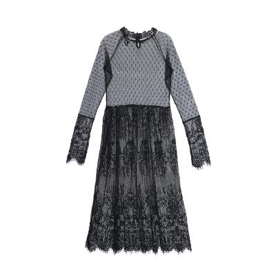 see-through lace dress black